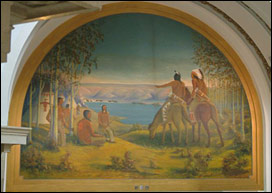 Overall image of Leman mural before conservation treatment