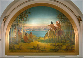 Overall image of Leman mural after conservation treatment